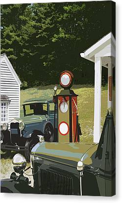 Model A Ford And Old Gas Station Illustration  Canvas Print