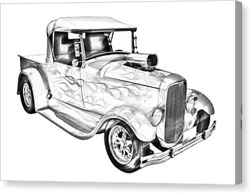 Model A Ford Pickup Hotrod Illustration Canvas Print by Keith Webber Jr