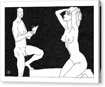 Model And Artist 11 Canvas Print by Leonid Petrushin