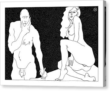 Model And Artist 18 Canvas Print by Leonid Petrushin