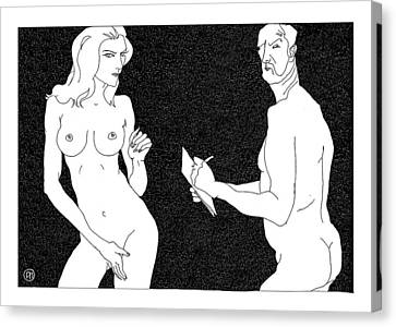 Model And Artist 19 Canvas Print by Leonid Petrushin