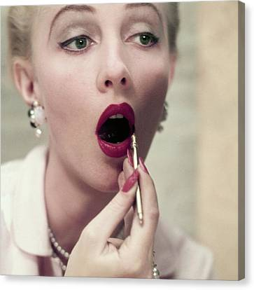 Pink Lipstick Canvas Print - Model Applying Revlon Lipstick by Frances McLaughlin-Gill