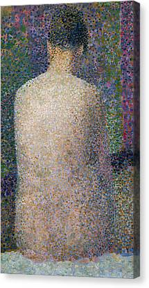 Model From The Back Canvas Print by Georges Pierre Seurat