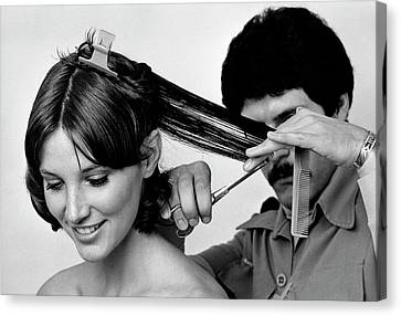 Model Getting A Haircut Canvas Print by William Connors