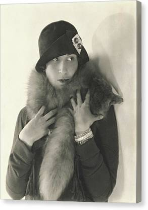 Model Halles Stiles Wearing A Agnes Hat And Fox Canvas Print