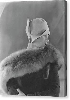 Model Halles Stiles Wearing A Cloche Hat And Fur Canvas Print