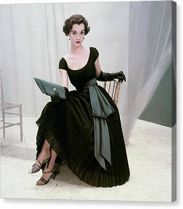 Clutch Bag Canvas Print - Model In A Black Pleated Skirt by Frances McLaughlin-Gill