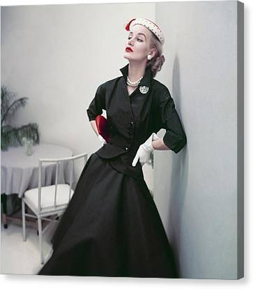 Full Skirt Canvas Print - Model In A Black Suit by Frances McLaughlin-Gill