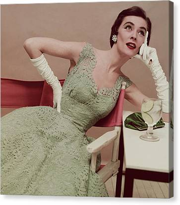 Clutch Bag Canvas Print - Model In A Green Lace Dress by Clifford Coffin; Frances McLaughlin-Gill