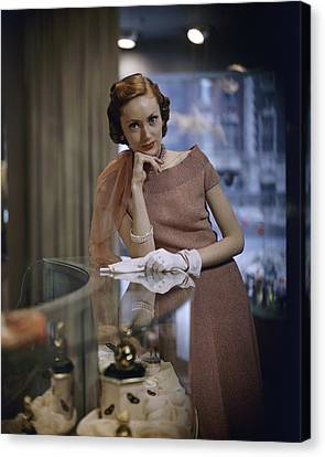 Model In A Knit Dress At Dorothy Gray Salon Canvas Print