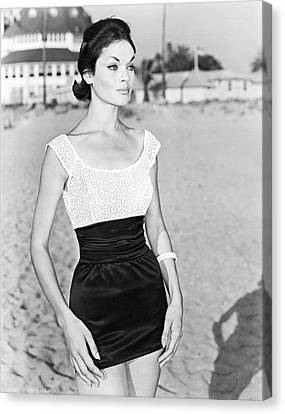 Model In A Mini Skirt Canvas Print by Underwood Archives