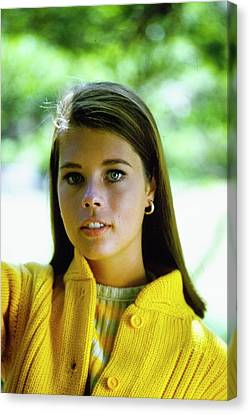 Model In A Yellow Cardigan Canvas Print