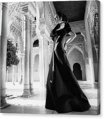 Model In The Court Of Lions Inside The Alhambra Canvas Print