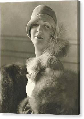 Cloche Hat Canvas Print - Model Louba Kainarsky Wearing A Felt Hat And Fur by Edward Steichen