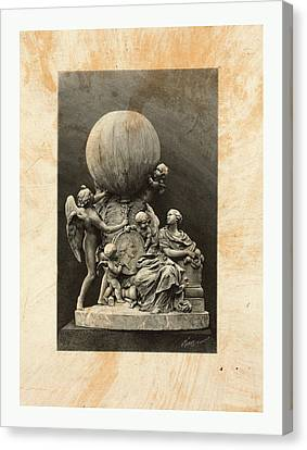 Model Of A Statue Dedicated To French Balloonists Canvas Print by English School
