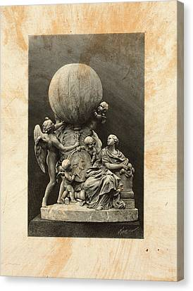 Model Of A Statue Dedicated To French Balloonists Canvas Print by Litz Collection