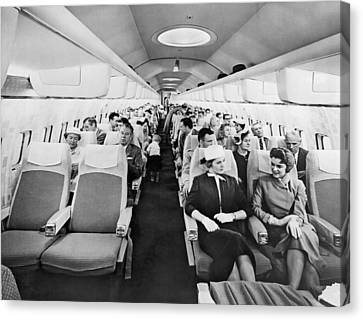 Model Of Boeing 707 Cabin Canvas Print by Underwood Archives