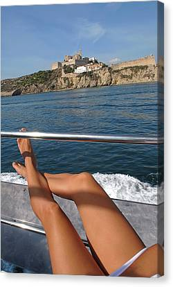 Model Released Legs Of A Young Tanned Canvas Print