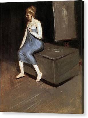 Model Sitting Canvas Print by Edward Hopper
