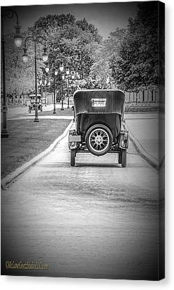 Model T Ford Down The Road Canvas Print