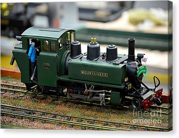 Jack Kent Canvas Print - Model Train Green Steam Railway Engine With Driver In Cab by Imran Ahmed
