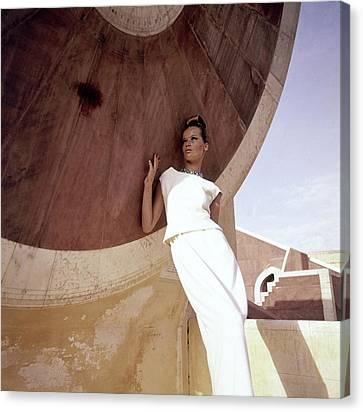 Adele Canvas Print - Model Veruschka Wearing A Two-piece Dress by Henry Clarke