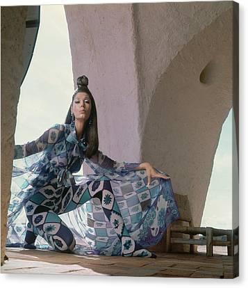 Model Wearing A Chiffon Voile Coat Canvas Print