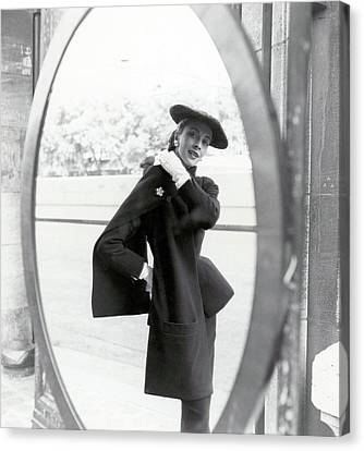 Dior Canvas Print - Model Wearing A Christian Dior Suit by Richard Rutledge