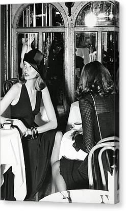 Cloche Hat Canvas Print - Model Wearing A Dress And Hat In Isle Of Capri by Kourken Pakchanian