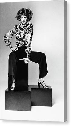 Model Wearing A Floral Shirt Canvas Print by Francesco Scavullo