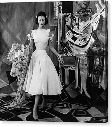 Model Wearing A Gres Dress Canvas Print