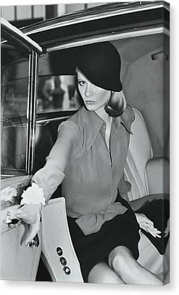 Cloche Hat Canvas Print - Model Wearing A Hat And Blouse In A Rolls Royce by Kourken Pakchanian