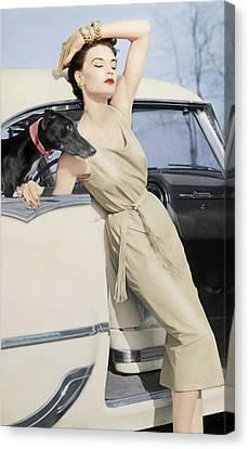 Model Wearing A Kidskin Dress Leaning On A Car Canvas Print