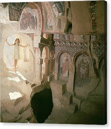 Model Wearing A Pat Sandler Dress In A Byzantine Canvas Print