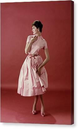 Model Wearing A Pink Satin Dress Canvas Print