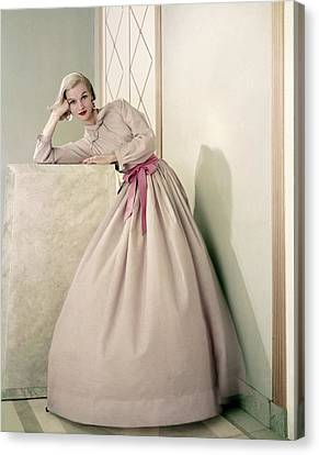 Model Wearing A Pink Shirt And Full Skirt Canvas Print