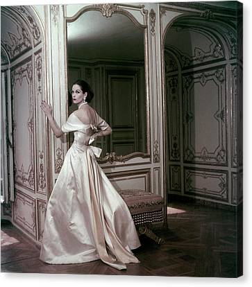 Model Wearing A Satin Evening Dress By Griffe Canvas Print