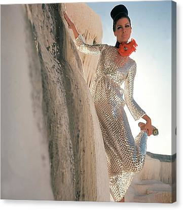 Model Wearing A Silver Sequined Dress By Anne Canvas Print