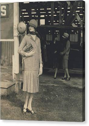 Clutch Bag Canvas Print - Model Wearing A Two-piece Tweed Dress by Edward Steichen