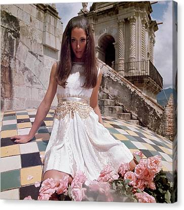 Model Wearing A White Dress By Mollie Parnis Canvas Print