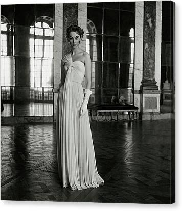 One-shoulder Dress Canvas Print - Model Wearing A White Gown At Fontainebleau by Frances McLaughlin-Gill