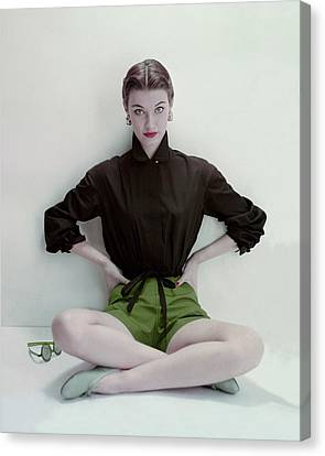 Model Wearing Black Blouse And Green Shorts Canvas Print