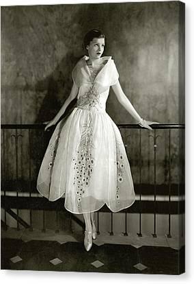 Full Skirt Canvas Print - Model Wearing Dress By Lanvin by Edward Steichen