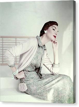 Silk On Canvas Print - Model Wearing Liberty Silk Dress by Frances McLaughlin-Gill