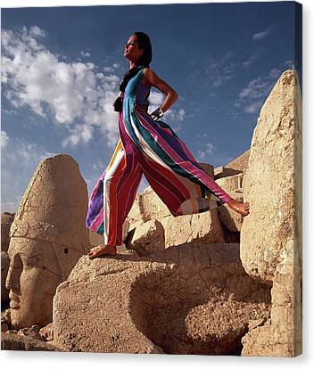 Silk On Canvas Print - Model Wearing Silk Dinner Pajamas In Goreme by Henry Clarke