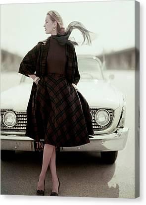 Full Skirt Canvas Print - Model Wearing Suit By Bud Kilpatrick by Karen Radkai