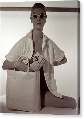 Model With A Josef Bag Canvas Print by Horst P. Horst