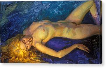 Model With Golden Hair Canvas Print