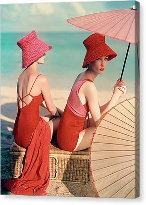 Camera Canvas Print - Models At A Beach by Louise Dahl-Wolfe