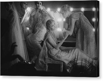 Ostrich Feathers Canvas Print - Models In A Dressing Room by Sarah Moon